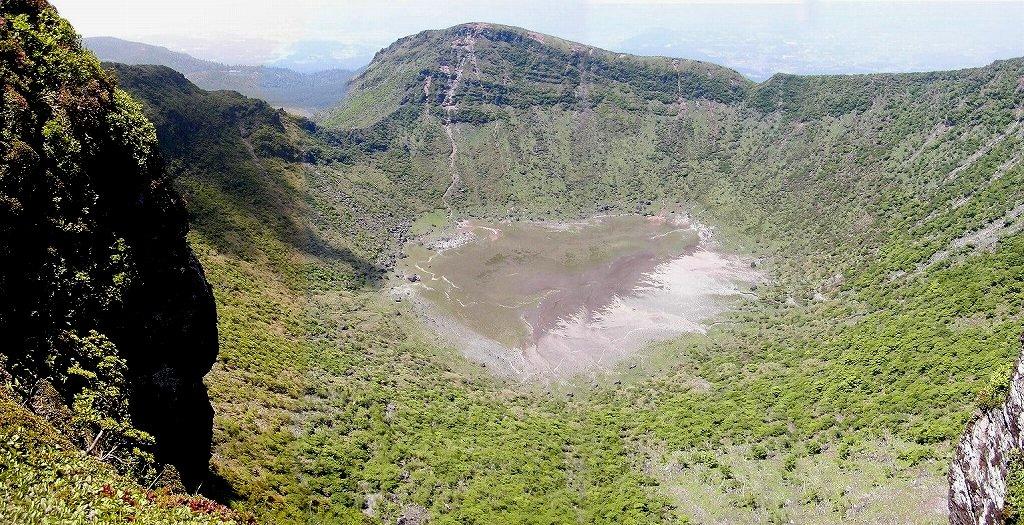 霧島連山最高峰 韓国岳火口湖 パノラマ写真